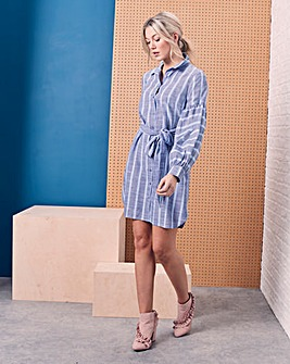 Blouson Sleeve Shirt Dress