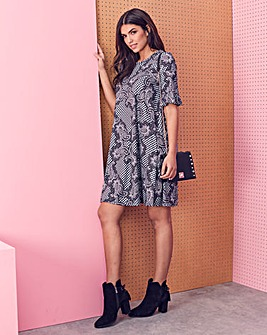Printed Jersey Swing Dress