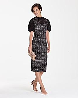 Black/Nude Puff Sleeve Lace Shift Dress