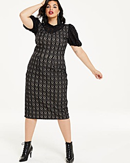 Black/Nude Puff Sleeve Lace Shift Dress