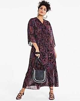 Fluted Sleeve Kaftan Dress