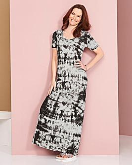 Black/White Tie Dye T-Shirt Maxi Dress