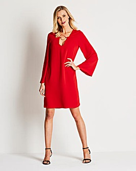 Red A Line Dress with D Ring