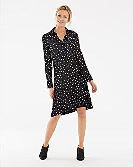 Heart Print Long Sleeve Shirt Dress