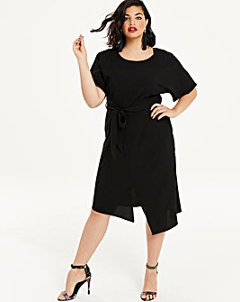 Black Front Split Wiggle Dress