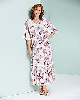 Crinkle Pom Pom Maxi Dress