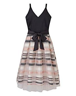 Petite Mesh Overlay Prom Dress