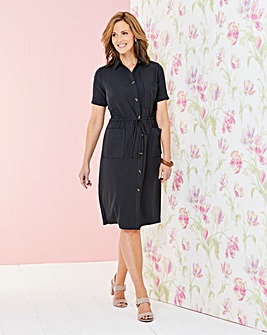 Draw waist Pocket Shirt Dress