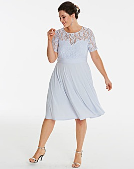 Lace Yoke Skater Dress