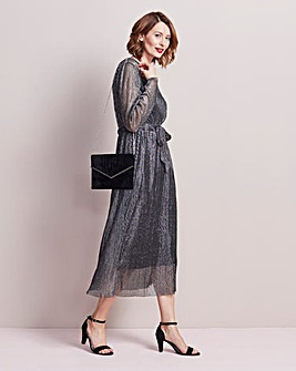 Pleat Midi Dress with tie belt