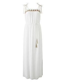 Crinkle Embellished Bardot Dress