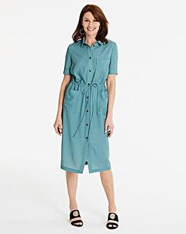 Draw waist Pocket Shirt Dress