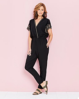 Embroidered Sleeve Wrap Jumpsuit