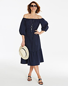 Cotton Poplin Bardot Dress
