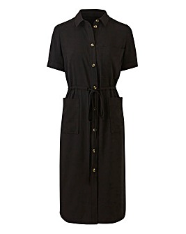 Petite Draw Waist Pocket Shirt Dress