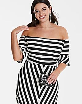 Fluted Sleeve Bardot Dress