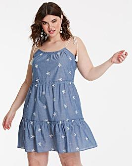 Chambray Babydoll Tie Strap Detail Dress