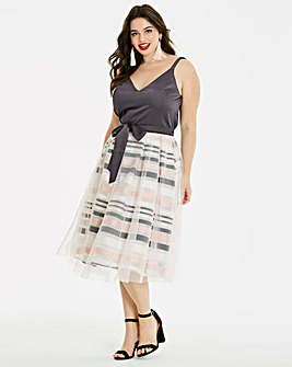 Mesh Overlay Prom Dress