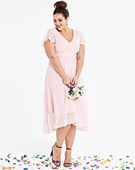Angel Sleeve Bridesmaid Midi Dress