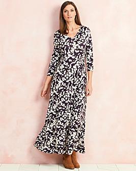 Pansy Print V-Neck Jersey Maxi Dress
