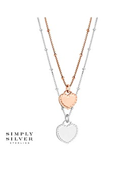 Simply Silver double row heart necklace