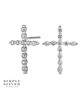 Simply Silver cross earring