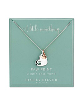 Simply Silver heart and paw necklace