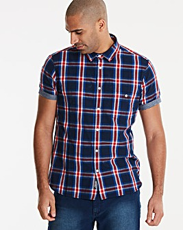 Jacamo Check Trim S/S Shirt Long