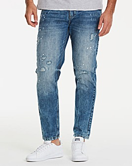 Jacamo Bleachwash Tapered Jeans 29in