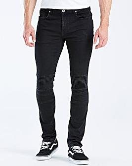 Jacamo Black Biker Skinny Jeans 31in