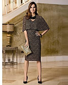 Together Metallic Lace Cape Dress