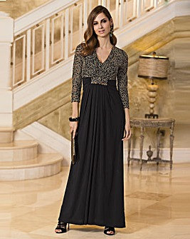 Together Metallic Lace Bodice Maxi Dress
