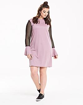 Pink Clove Mesh Sleeve Sweat Dress