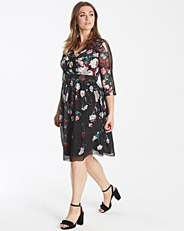 Little Mistress Floral Wrap Prom Dress