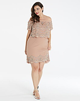 Maya Curve Embellished Bardot Dress