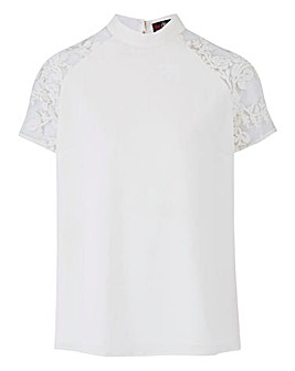 Lovedrobe Lace Detail High Neck Top