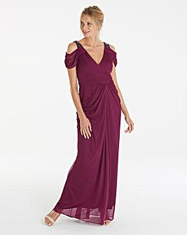Adrianna Papell Wrap Beaded Maxi Dress
