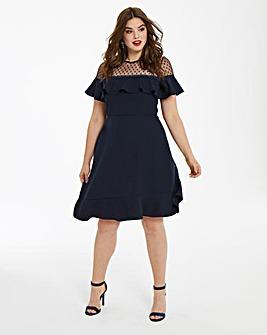 Elise Ryan Frilled Spot Mesh Dress