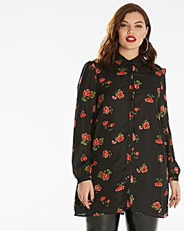 Fashion Union Rose Print Shirt Dress