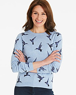 Oasis Curve Illustrator Bird Print Knit
