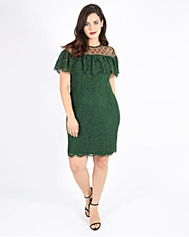 Lovedrobe Lace Dress With Ruffle Sleeves