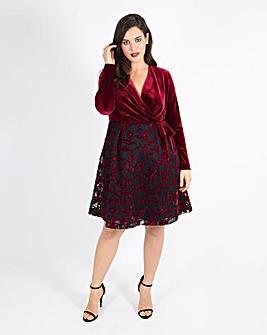 Lovedrobe Jacquard and Velvet Wrap Dress