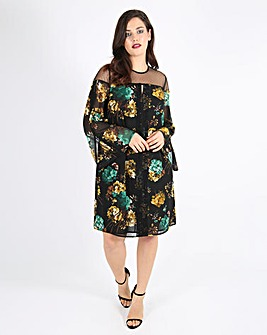 Lovedrobe Printed Swing Dress with Mesh