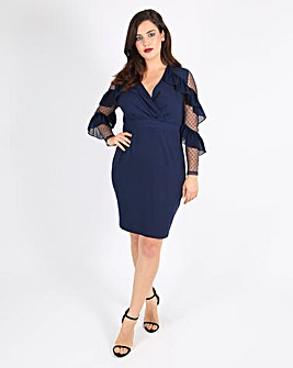 Lovedrobe Pencil Dress with Mesh Sleeves