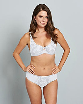 Gina Embroidered White Balcony Bra