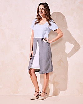 Eden Rock Linen Colour Block Shirt Dress