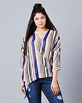 Simply Be Stripe Wrap Blouse