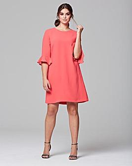 Helene Berman Fluted Sleeve Dress