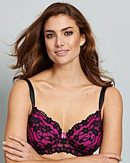 Daisy Lace Full Cup Black/Pink Bra