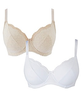 2 Pack Sophie Full Cup Oatmeal/White Bra